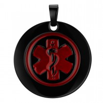 Black plated Stainless Steel Medical Tag - Engravable