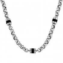 Stainless Steel Fashion Chain - Black Barrel Enamel Beads - Rolo Style