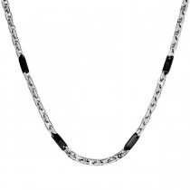 Stainless Steel Fashion Chain – Black Plated Accent Links