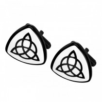 Black Plated Celtic Triquetra Cufflinks – Stainless Steel