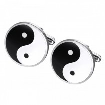 Yin Yang Cufflinks in Stainless Steel