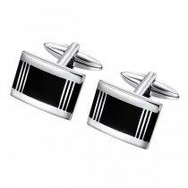 Geometric Contrast Cufflinks in Brushed Stainless