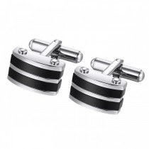 Onyx and Stainless Steel Contrasting Striped Cufflinks