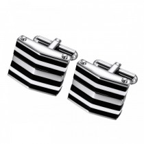 Unique Stripe Patterned Pointed Cufflinks in Stainless Steel
