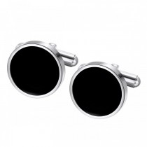 Round Black Simple Elegant Stainless Steel Cufflinks