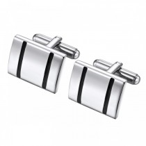 Bold Simple Cufflinks in Stainless Steel with Accent Lines in Black