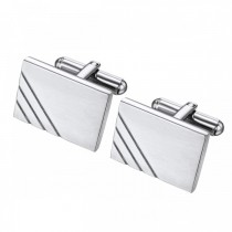 Rectangle Cufflinks in Brushed Stainless with Accent Lines