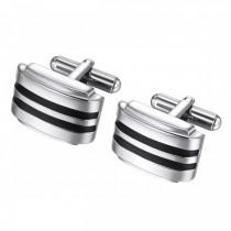Domed Stripe Design Stainless Steel Cufflinks