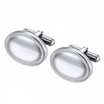 Oval Stainless Steel Cufflinks with Rope Twist Accent