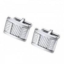 Textured Greek Key Pattern Stainless Steel Cufflinks