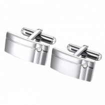Geometric Stainless Steel Cufflinks with Glass Accent Stone