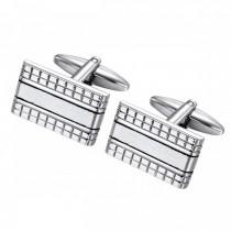 Geometric Striped Cufflinks – Stainless Steel