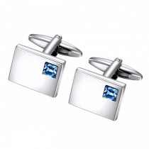 Blue Glass Stone in Brushed Stainless Cufflinks
