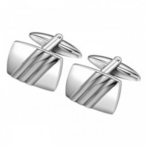 Triple Bared Stainless Steel Cufflinks in Curved Rectangle Shape
