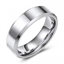 High Polished Beveled Edge Wedding or Fashion Ring - 6.5MM