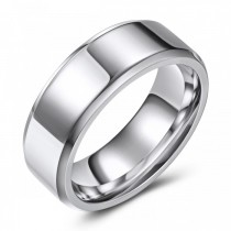 High Polished Beveled Edge Wedding or Fashion Ring - 8MM