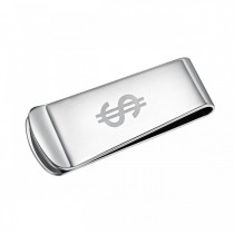 Money Sign Etched Stainless Steel Money Clip