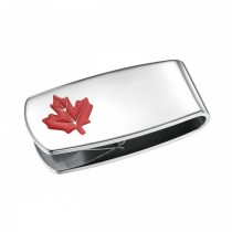 Red Canadian Maple Leaf Money Clip in Stainless Steel