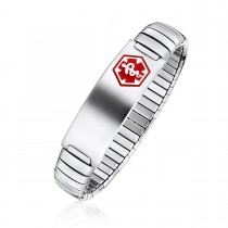 Stretch Band Engravable Medical ID Bracelet – Red Caduceus