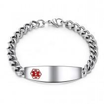 Engravable Steel Caduceus Medical ID Bracelet