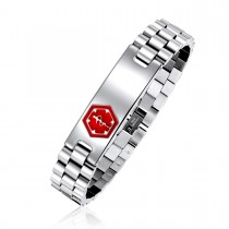 Ladies Rolex Link Medical ID Bracelet – Red Caduceus Emblem