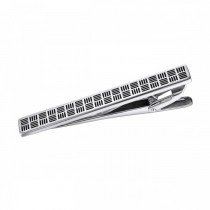 Trendy Textured Stainless Steel Tie Bar – Cross Hatch Pattern