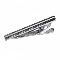 Textured Horizontal Stripe Tie Bar – Stainless Steel