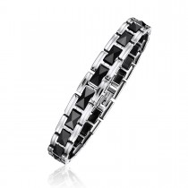 Faceted Steel and Ceramic Link Bracelet