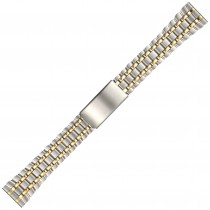 Two Tone Metal Buckle Watch Strap 20mm Straight End