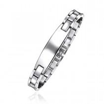 Engravable Stainless Steel Brick Link ID Bracelet