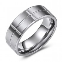 Brick Textured Engravable Titanium Ring