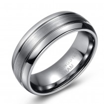 Domed Brushed Tungsten Wedding or Fashion Ring - 8MM