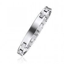 Brushed Finish Brick Link Engravable ID Bracelet