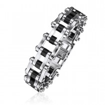 Steel Train Track Link Bracelet with Black Rubber Accent