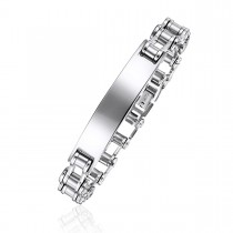 Engravable Barrel Link ID Bracelet