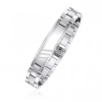 Engravable Dual Finish ID Bracelet with Brick Links