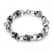 Polished Steel Skull Link Bracelet