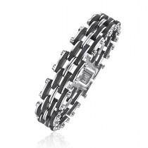 Black Rubber and Steel Train Track Link Bracelet