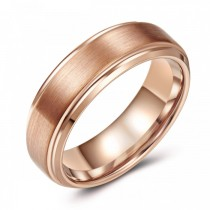 Rose Toned Tungsten Wedding or Fashion Ring - 7MM