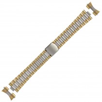 Two Tone Metal Buckle Watch Strap 22mm Curved End