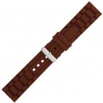 Brown Textured Silicone Watch Strap 24mm