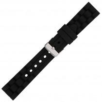 Black Textured Silicone Watch Strap 18mm
