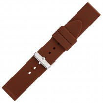 Brown Plain Silicone Watch Strap 22mm