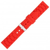 Red Textured Silicone Watch Strap 24mm