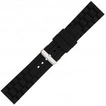 Black Textured Silicone Watch Strap 24mm