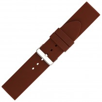 Brown Plain Silicone Watch Strap 24mm