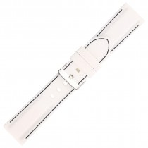 White Silicone Watch Strap With Black Stitching 22mm