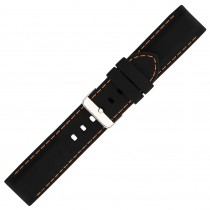 Black Silicone Watch Strap With Orange Stitching 28mm