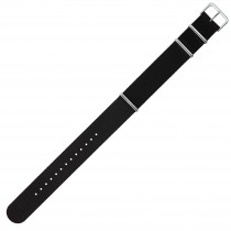 Black 22mm Nylon Military Watch Strap With Three Rings