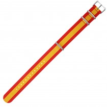 Red & Yellow Colored 22mm Nylon Military Watch Strap With Three Rings